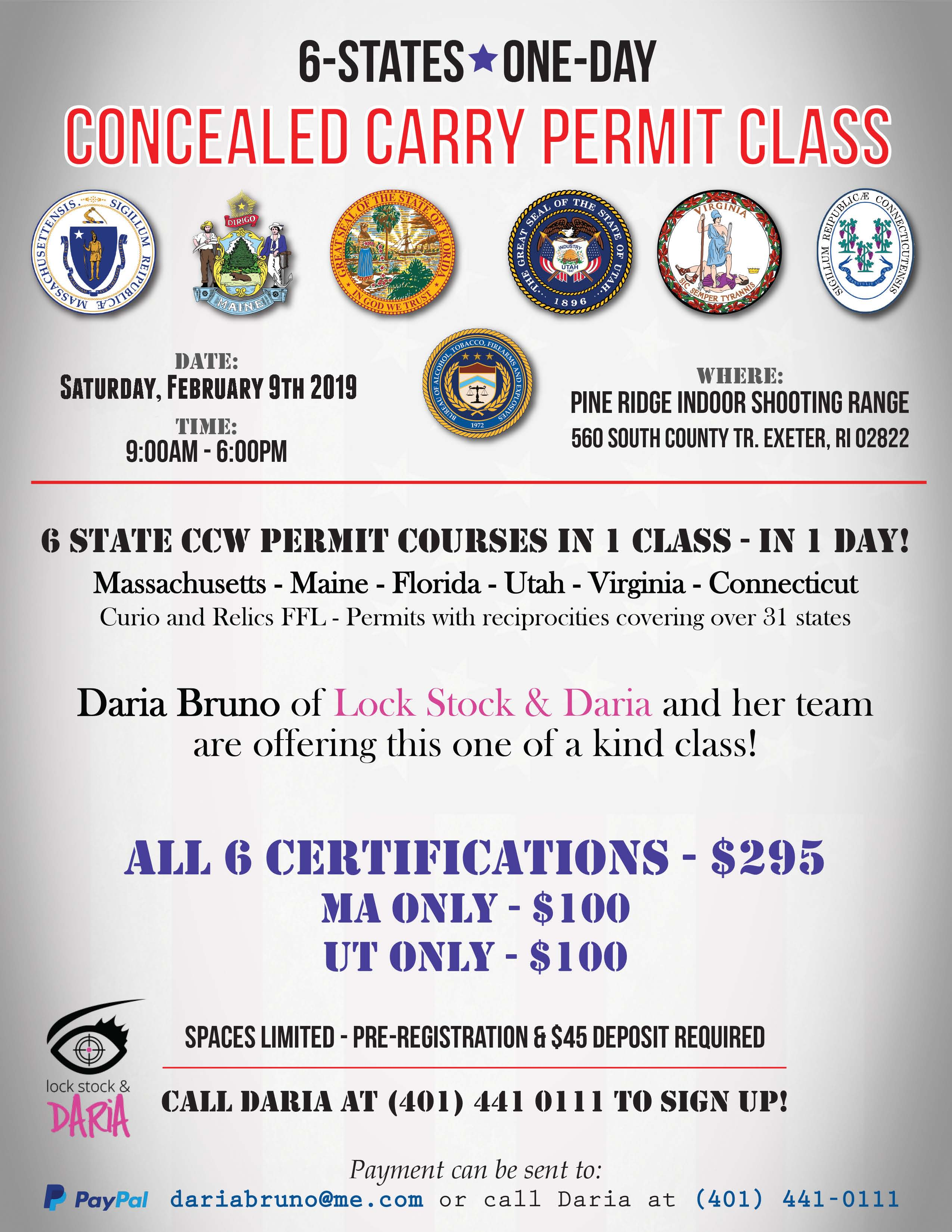 6 State Concealed Carry Permit Class